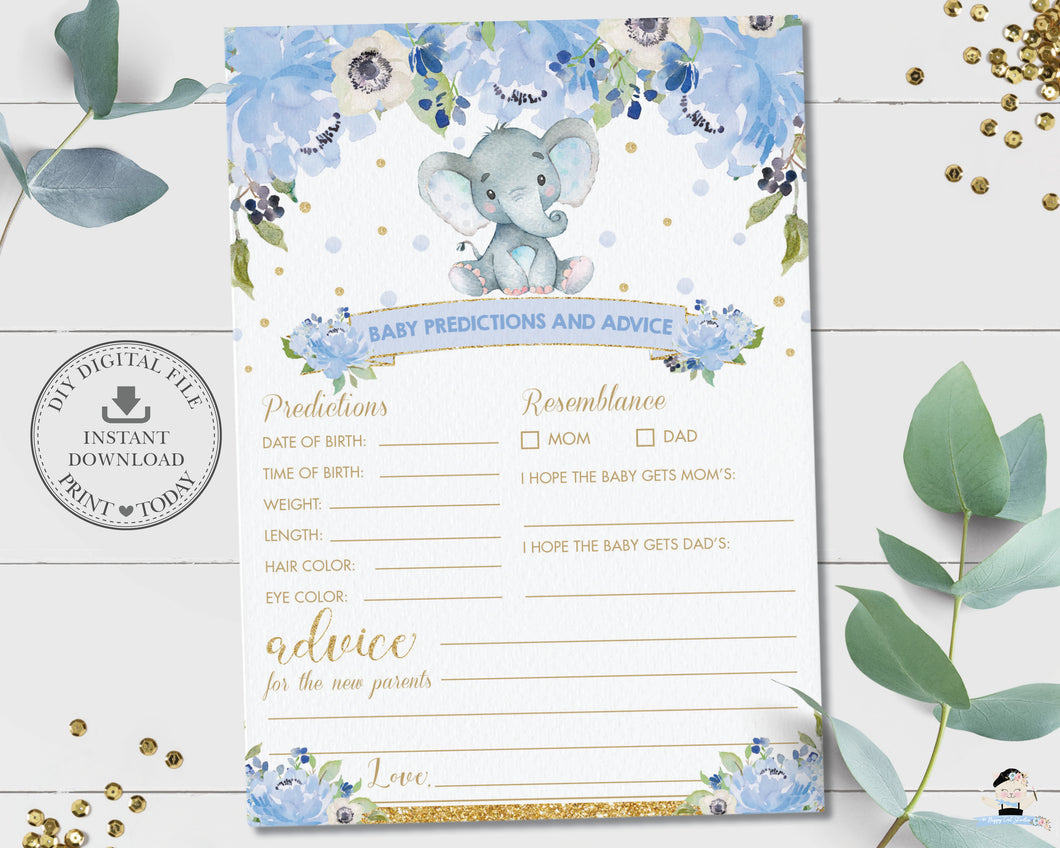 Baby Predictions and Advice Cute Elephant Blue Floral Boy Baby Shower Game Activity - Instant Download - Digital Printable File - EP6