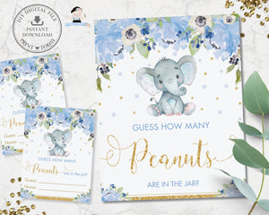 Guess How Many Peanuts in the Jar Baby Shower Game Activity Cute Elephant Blue Floral Boy - Instant Download - Digital Printable File - EP6