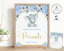 Load image into Gallery viewer, Guess How Many Peanuts in the Jar Baby Shower Game Activity Cute Elephant Blue Floral Boy - Instant Download - Digital Printable File - EP6