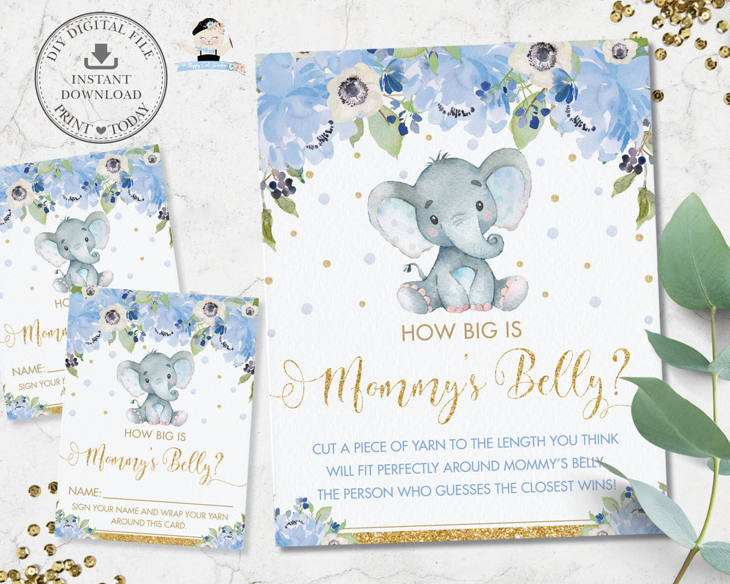 How Big is Mommy's Belly Sign and Card Baby Shower Game Activity Cute Elephant Blue Floral Boy - Instant Download - Digital Printable File - EP6