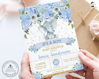 Blue Floral Elephant Baby Boy Shower Invitation - Instant EDITABLE TEMPLATE - EP6