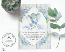 Load image into Gallery viewer, Rustic Blue Floral Elephant Baby Shower Bring a Book Instead of a Card - Instant Download - EP4