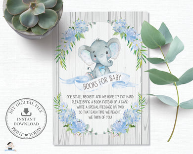Rustic Blue Floral Elephant Baby Shower Bring a Book Instead of a Card - Instant Download - EP4