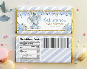 Blue Floral Elephant Chocolate Bar Wrapper - Instant EDITABLE TEMPLATE - EP6