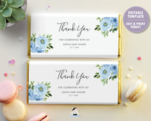 Load image into Gallery viewer, Blue Floral Greenery Chocolate Bar Wrapper for Aldi and Herhsey's
