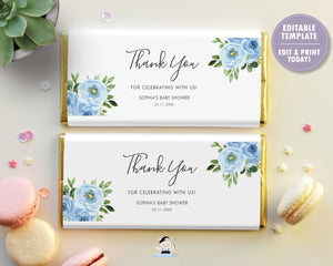 Blue Floral Greenery Chocolate Bar Wrapper for Aldi and Herhsey's