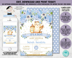 Blue Floral Mommy Owl and Baby Owl Baby Boy Shower Invitation - Instant EDITABLE TEMPLATE - OW2