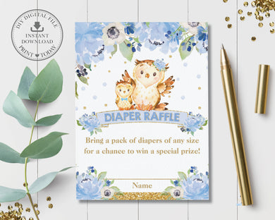 Blue Floral Cute Mommy and Baby Owls Diaper Raffle Ticket Card Insert - Digital Printable File - Instant Download - OW2