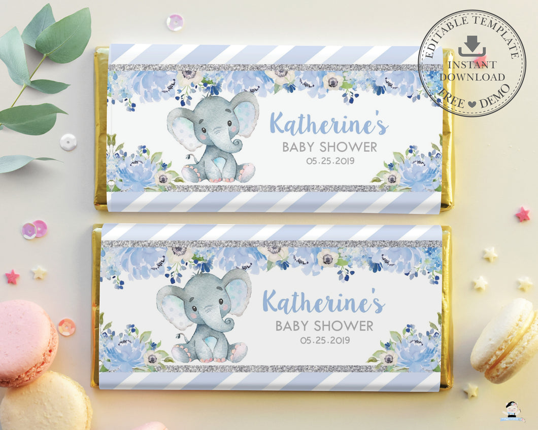 Elephant Blue Floral Silver Glitter Baby Shower Chocolate Bar Wrapper Hershey's Aldi Editable Template - Instant Download - Digital Printable File - EP6
