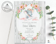 Load image into Gallery viewer, Rustic Elephant Blush Pink Floral Baby Shower Boy Invitation Editable Template - Instant Download - Digital Printable File - EP4