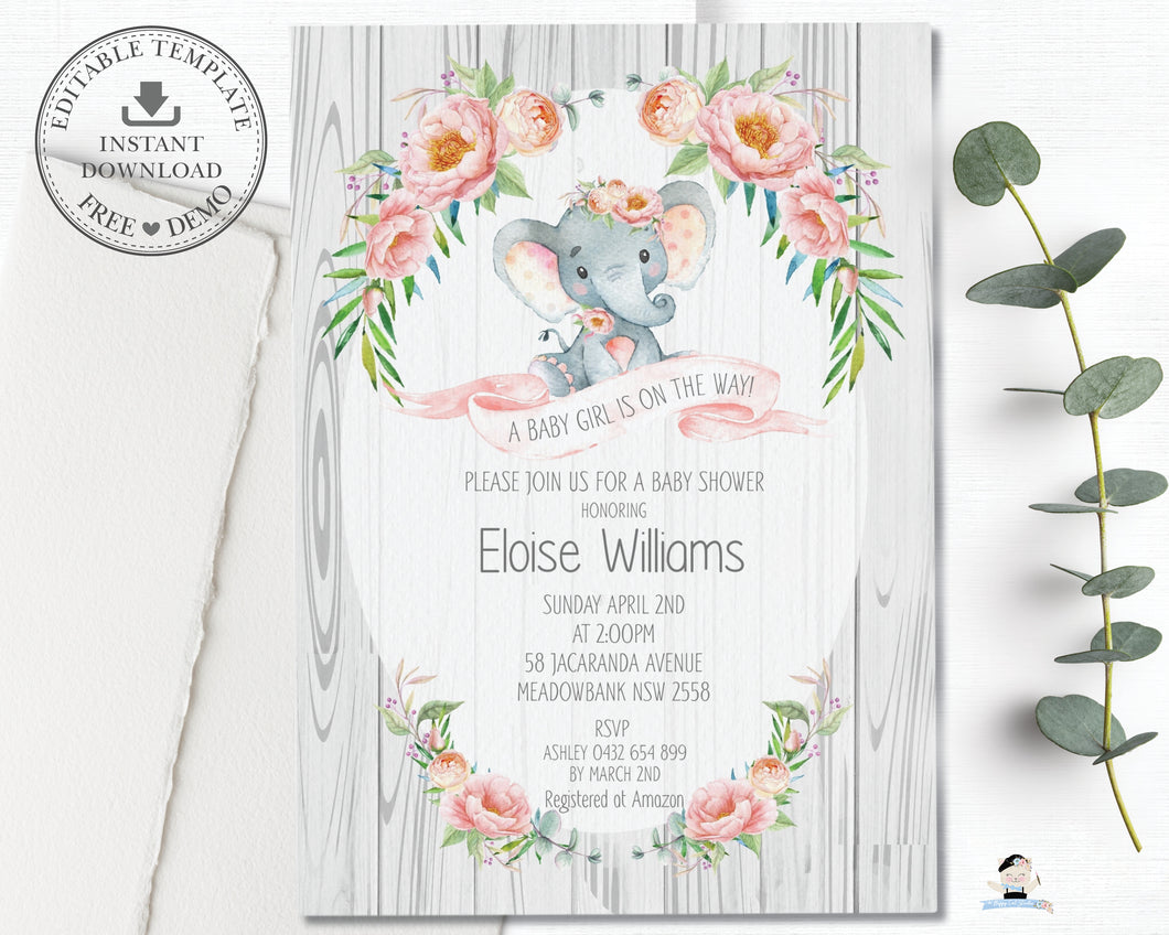 Rustic Elephant Blush Pink Floral Baby Shower Boy Invitation Editable Template - Instant Download - Digital Printable File - EP4