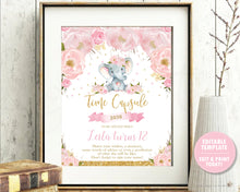 Load image into Gallery viewer, Elephant Blush Pink Floral Time Capsule Sign and Message Cards - Editable Template - Instant Download Digital Printable File - EP5