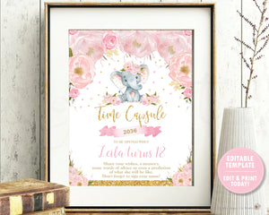 Elephant Blush Pink Floral Time Capsule Sign and Message Cards - Editable Template - Instant Download Digital Printable File - EP5
