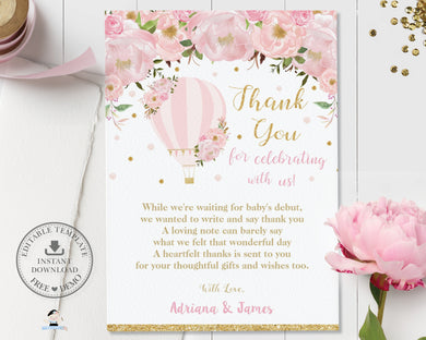 Chic Blush Pink Floral Hot Air Balloon Thank You Card Editable Template - Digital Printable File - Instant Download - HB2