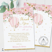 Load image into Gallery viewer, Chic Blush Pink Floral Hot Air Balloon Thank You Card Editable Template - Digital Printable File - Instant Download - HB2