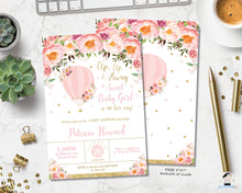 Load image into Gallery viewer, Blush Pink Floral Hot Air Balloon Baby Girl Shower Invitation - Instant EDITABLE TEMPLATE - HB3
