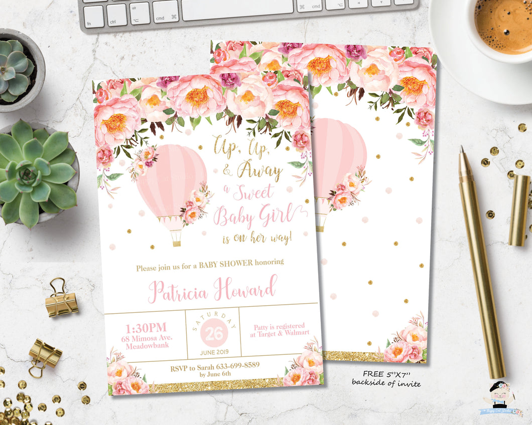 Blush Pink Floral Hot Air Balloon Baby Girl Shower Invitation - Instant EDITABLE TEMPLATE - HB3