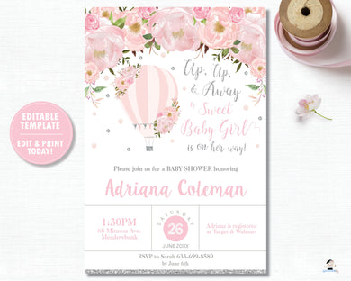 Blush Floral Hot Air Balloon Baby Girl Shower Invitation Silver Glitter - Instant EDITABLE TEMPLATE - HB2