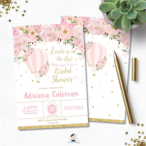 Blush Floral Hot Air Balloon Bridal Shower Invitation - Instant EDITABLE TEMPLATE - HB2