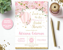 Load image into Gallery viewer, Blush Floral Hot Air Balloon Bridal Shower Invitation - Instant EDITABLE TEMPLATE - HB2