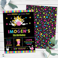 Load image into Gallery viewer, Bowling Birthday Party Girl Invitation Editable Template - Instant Download Digital Printable File - BW1