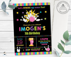 Bowling Birthday Party Girl Invitation Editable Template - Instant Download Digital Printable File - BW1
