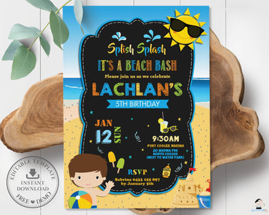 Vibrant Boy Beach Bash Pool Party Birthday Invitation Editable Template - Instant Download - Digital Printable File - PL1