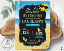 Load image into Gallery viewer, Vibrant Boy Beach Bash Pool Party Birthday Invitation Editable Template - Instant Download - Digital Printable File - PL1