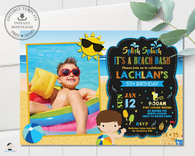 Boy Beach Bash Pool Party Birthday Invitation Editable Template - Instant Download - Digital Printable File - PL1