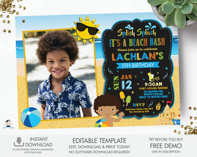 Beach Bash Pool Party Birthday Boy African Brown Skin Invitation Editable Template - Instant Download - Digital Printable File - PL1