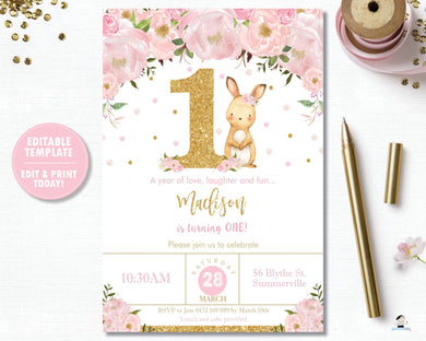 Pink Floral Bunny Rabbit 1st Birthday Party Personalized Invitation Editable Template - Instant Download - Digital Printable File CB6