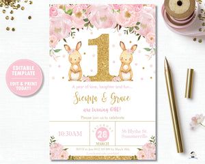 Twin Girls Bunny 1st Birthday Party Personalized Invitation Editable Template - Instant Download - Digital Printable File  CB6