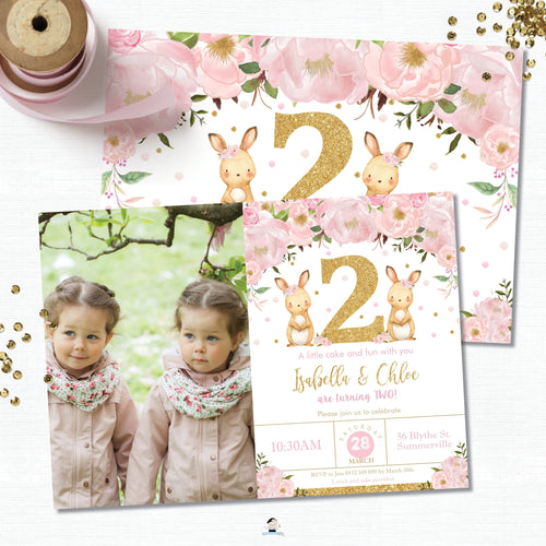 Twin Girls Bunny 2nd Birthday Party Personalized Photo Invitation Editable Template - Instant Download - Digital Printable File  CB6
