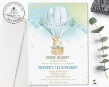Load image into Gallery viewer, Cute Bunny Hot Air Balloon Blue Personalized Birthday Invitation Editable Template Instant Download HB6