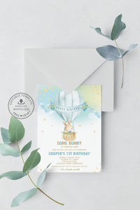 Cute Bunny Hot Air Balloon Blue Personalized Birthday Invitation Editable Template Instant Download HB6