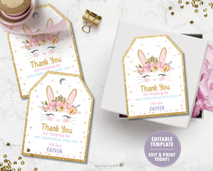 Bunny Rabbit Thank You Favor Tags Editable Template Digital Printable File - Instant Download - CB2