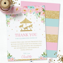 Load image into Gallery viewer, Carousel Pink Mint Floral Personalized Birthday Thank You Card Editable Template - Digital Printable File - CR2