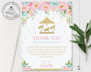 Carousel Pink Mint Floral Personalized Birthday Thank You Card Editable Template - Digital Printable File - CR2