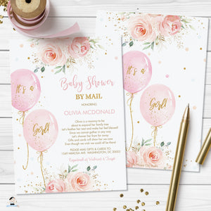 Chic Sweet Blush Pink Floral Balloons Baby Shower Invitation Editable Invitation - Digital Printable File - Instant Download - BA1