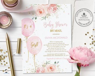 Chic Blush Pink Floral Balloons Baby Shower by Mail Invitation Editable Invitation - Digital Printable File - Instant Download - BA1
