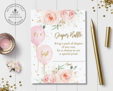 Sweet Blush Pink Floral Balloons Baby Shower Diaper Raffle Insert Card - Instant Download - Digital Printable File
