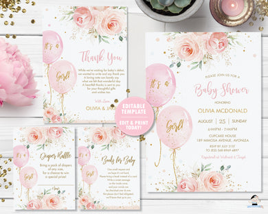 Blush Floral Balloons Baby Shower Invitation Bundle Set Thank You Diaper Raffle Books for Baby - Instant Download - Editable Template - Digital Printable File - BA1