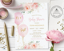 Load image into Gallery viewer, Chic Sweet Blush Pink Floral Balloons Baby Shower Invitation Editable Invitation - Digital Printable File - Instant Download - BA1