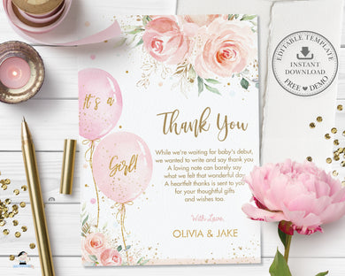 Chic Blush Pink Floral Balloons Baby Shower Thank You Card - Editable Template - Instant Download - Digital Printable File - BA1