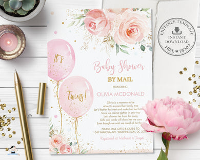 Chic Blush Pink Floral Balloons Twins Baby Shower by Mail Invitation Editable Invitation - Digital Printable File - Instant Download - BA1