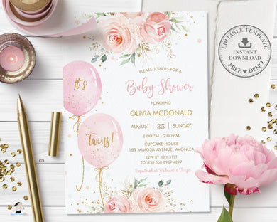 Elegant Blush Pink Floral Balloons Twins Baby Shower Invitation Editable Invitation - Digital Printable File - Instant Download - BA1