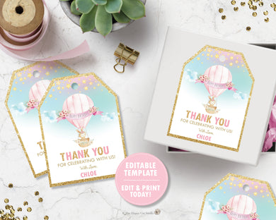 Cute Bunny Hot Air Balloon Favor Tags for Birthday Baby Shower - Editable Template - Digital Printable File - Instant Download - HB6