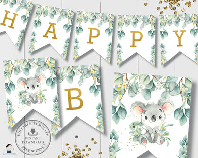 Eucalyptus Greenery Koala Birthday Baby Shower Flag Banner Bunting Decor Editable Template - Digital Printable File - Instant Download - AU2