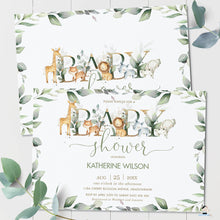 Load image into Gallery viewer, Rustic Greenery Jungle Animals Gender Neutral Baby Shower Invitation Editable Template - Digital Printable File - Instant Download - JA5