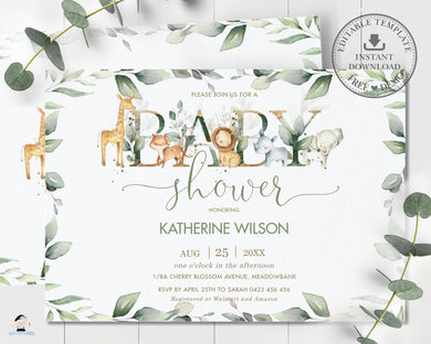 Rustic Greenery Jungle Animals Gender Neutral Baby Shower Invitation Editable Template - Digital Printable File - Instant Download - JA5